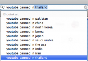 YouTube on bannattu aika-ajoin maissa, joissa poliittisen vallan ja kansan mielipiteet eivät kohtaa.