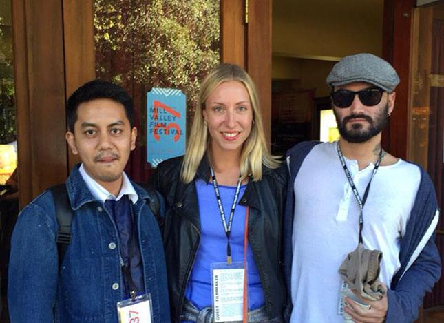 Mill Valley-filmifestivaaleilla SIX-elokuvan kanssa. Kuvassa oik. ohjaaja Frank Jerky, Ella ja tuotantopäällikkö Eddy Zaidy
