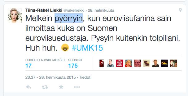 Uuden Musiikin Kilpailun juontajan Rakel Liekin twiittaus Suomen euroviisuedustajan selvittyä.