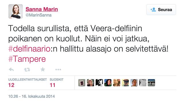 Kuvakaappaus Sanna Marinin Twitteristä.